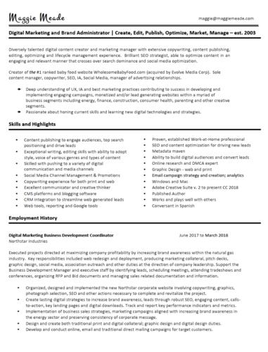 Maggie Meade Resume - pg. 1